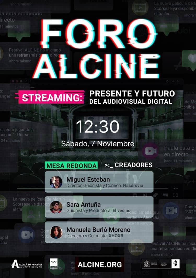 Sigue en directo el Foro ALCINE: Streaming, presente y futuro del audiovisual digital (Creadores) Sáb 7 / 12:30h. Con Miguel Esteban, Sara Antuña y Manuela Burló